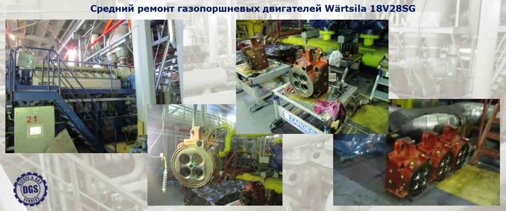 Средний ремонт газопоршневых двигателей Wärtsila 18V28SG